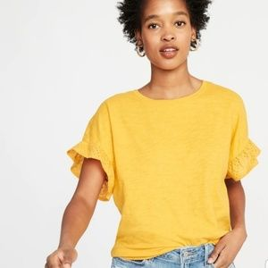 NWT Women's Mustard Ruffled Eyelet Sleeves Shirt